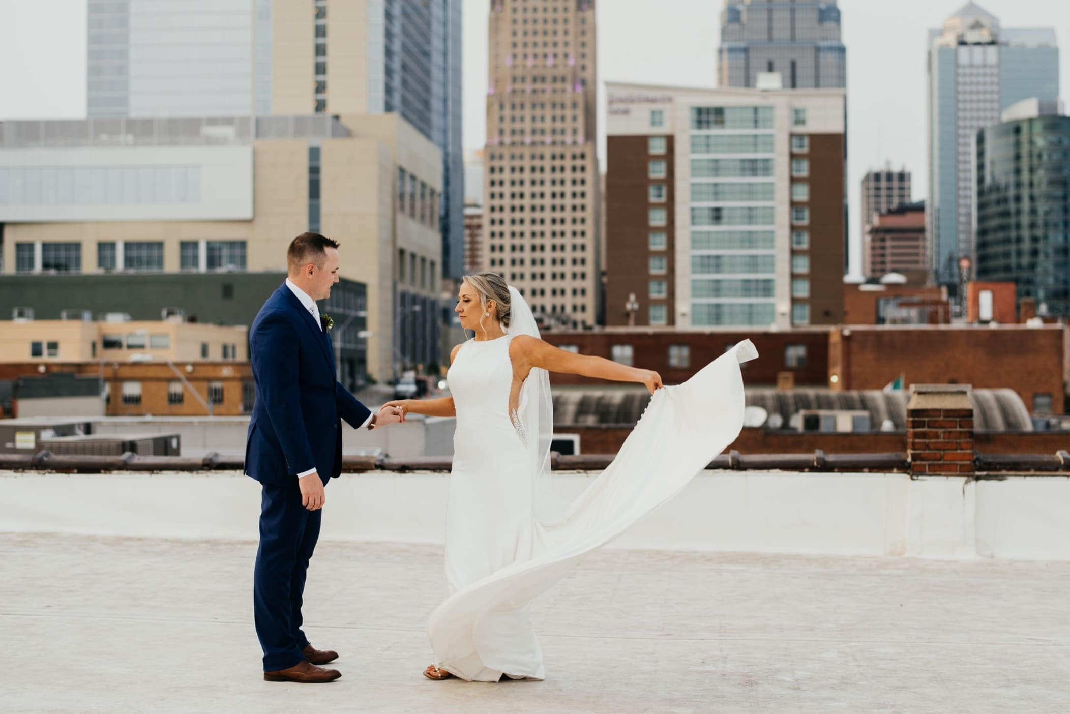 rooftop portraits bride and groom