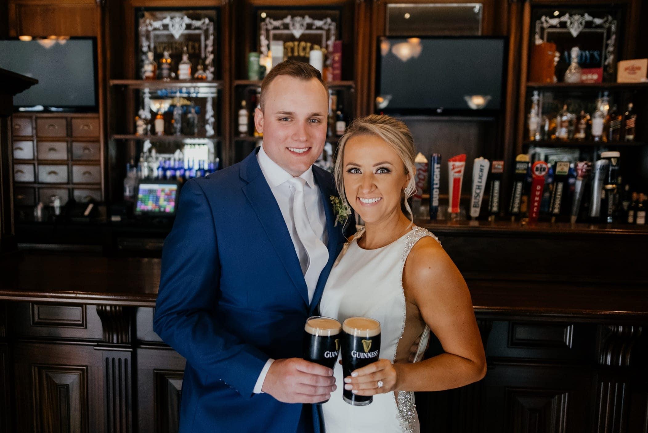 bride and groom bar photos
