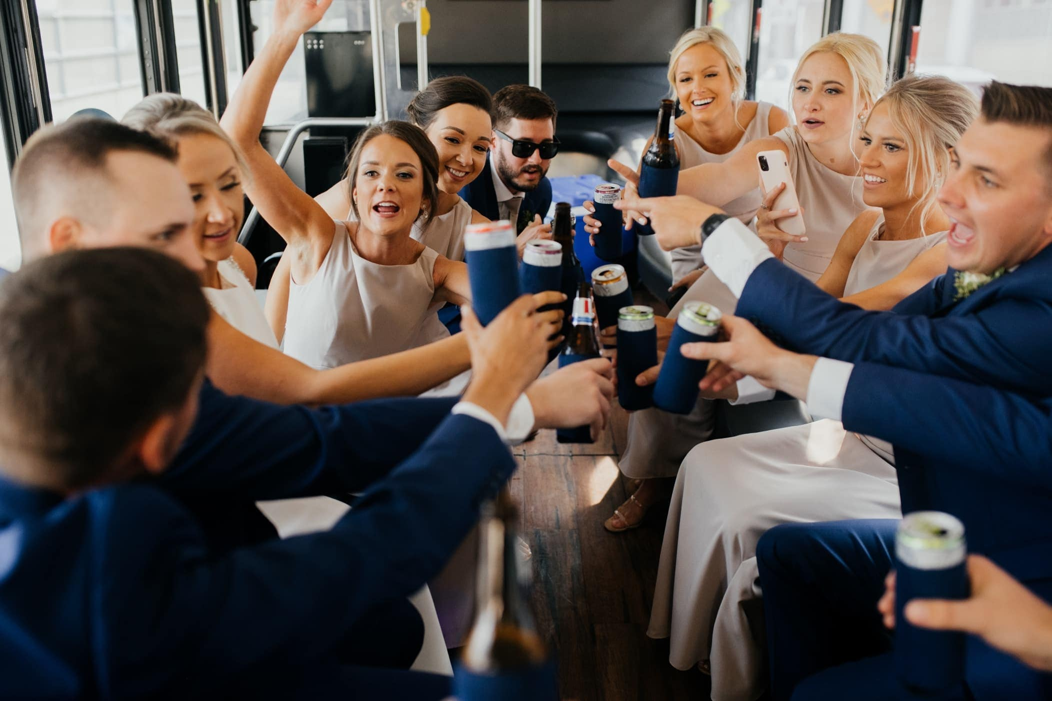 wedding party toast on party bus kc