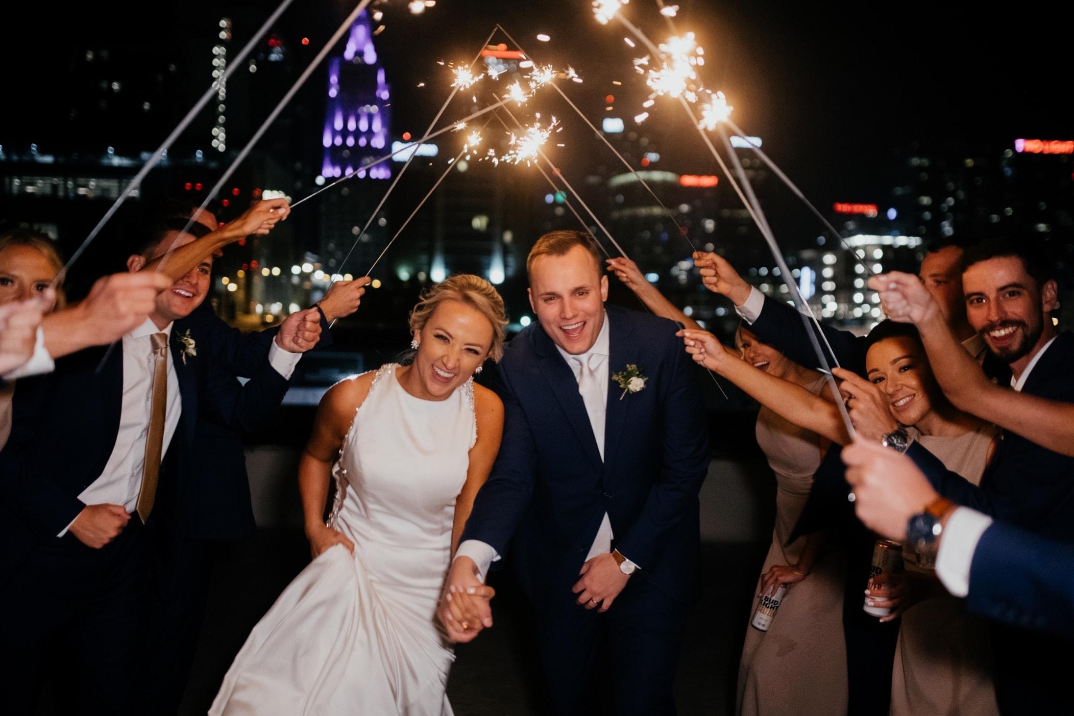 sparkler exit at union kansas city wedding