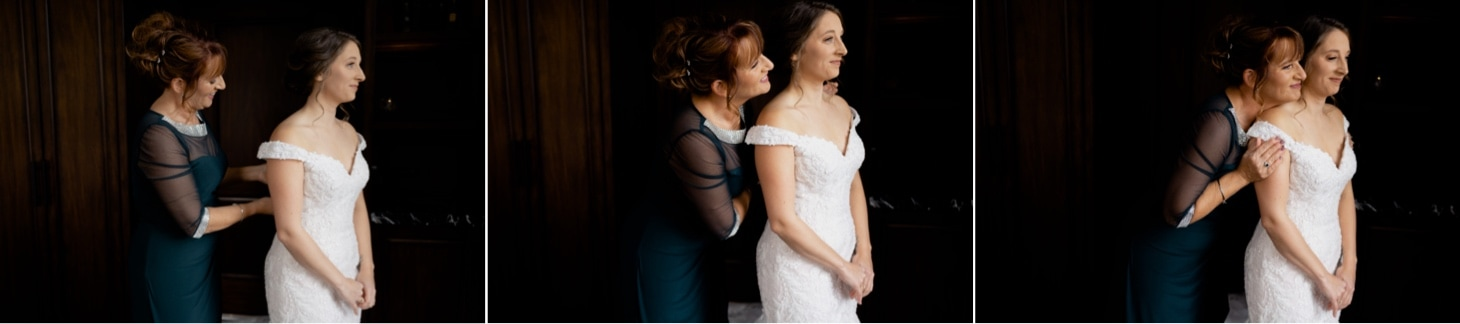 Mother and Daughter getting ready on wedding day