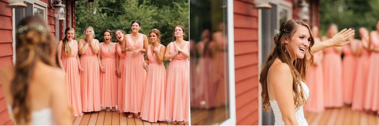 bridesmaids first look iowa city wedding