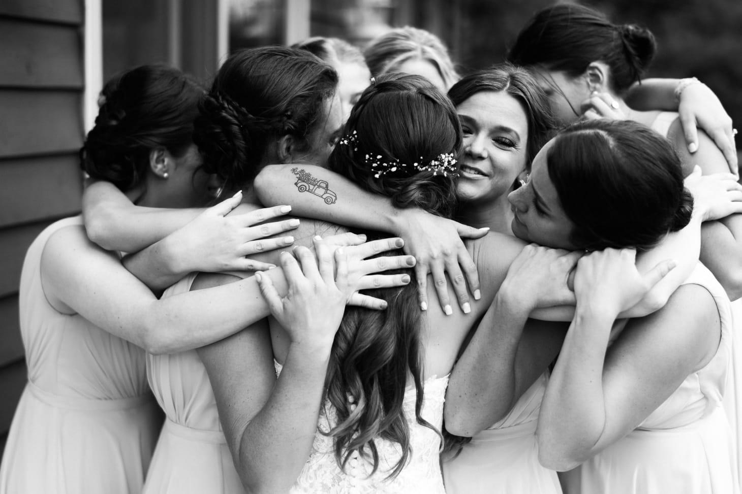 bridesmaids with bride harvest preserve wedding