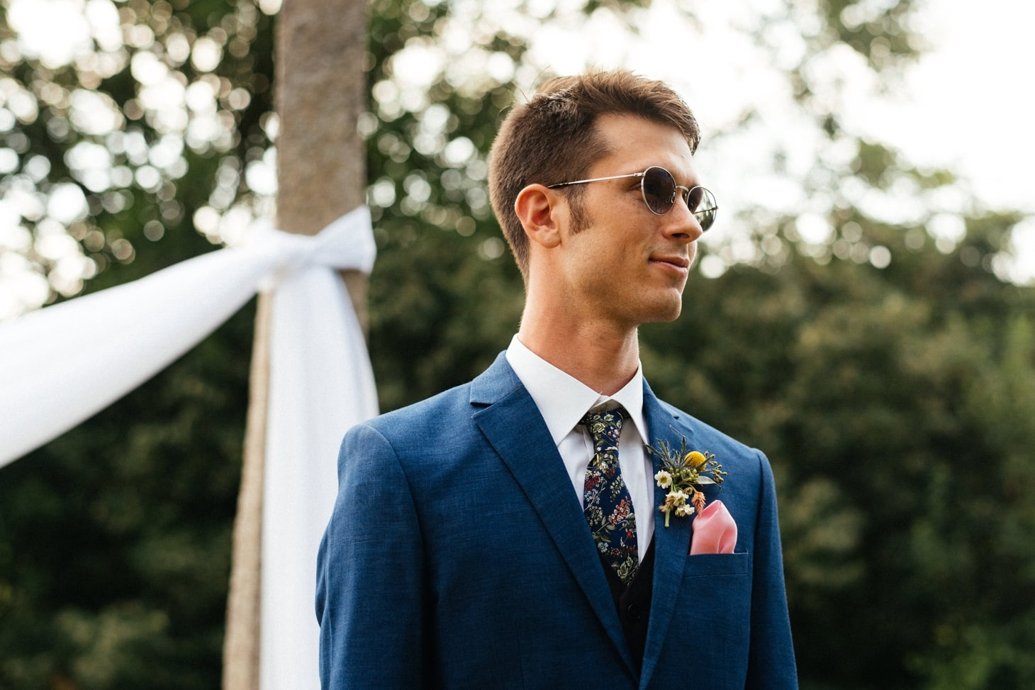 groom at ceremony at harvest preserve