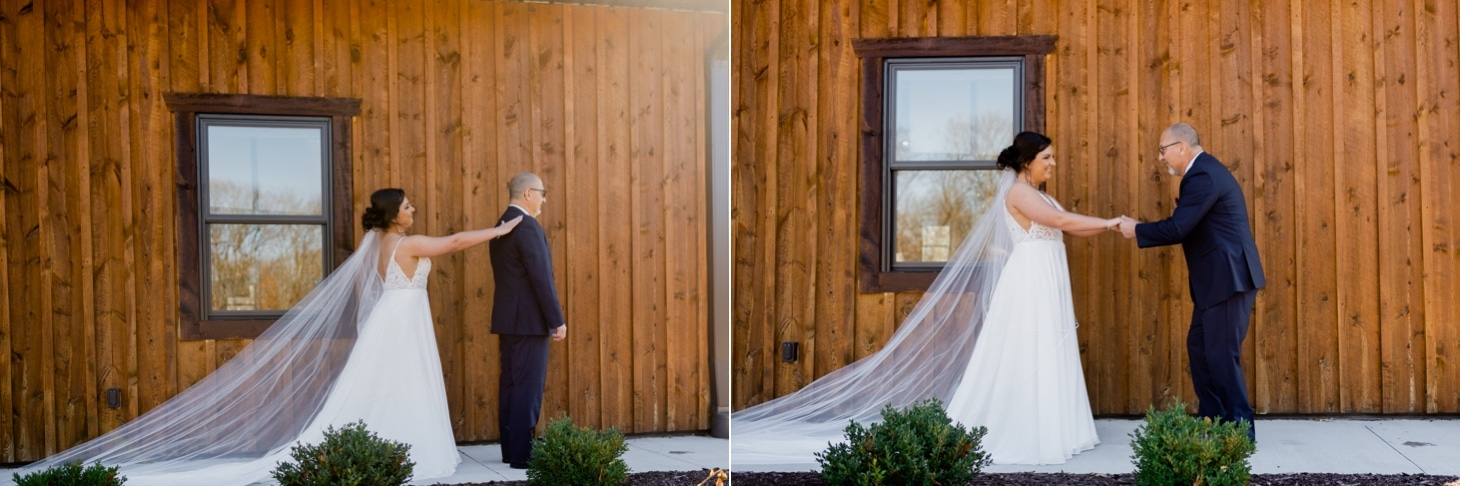 father daughter first look photos country lane lodge