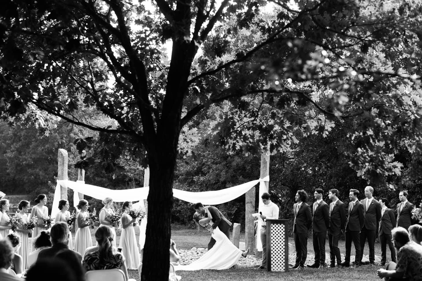 bride and groom at wedding ceremony in iowa city