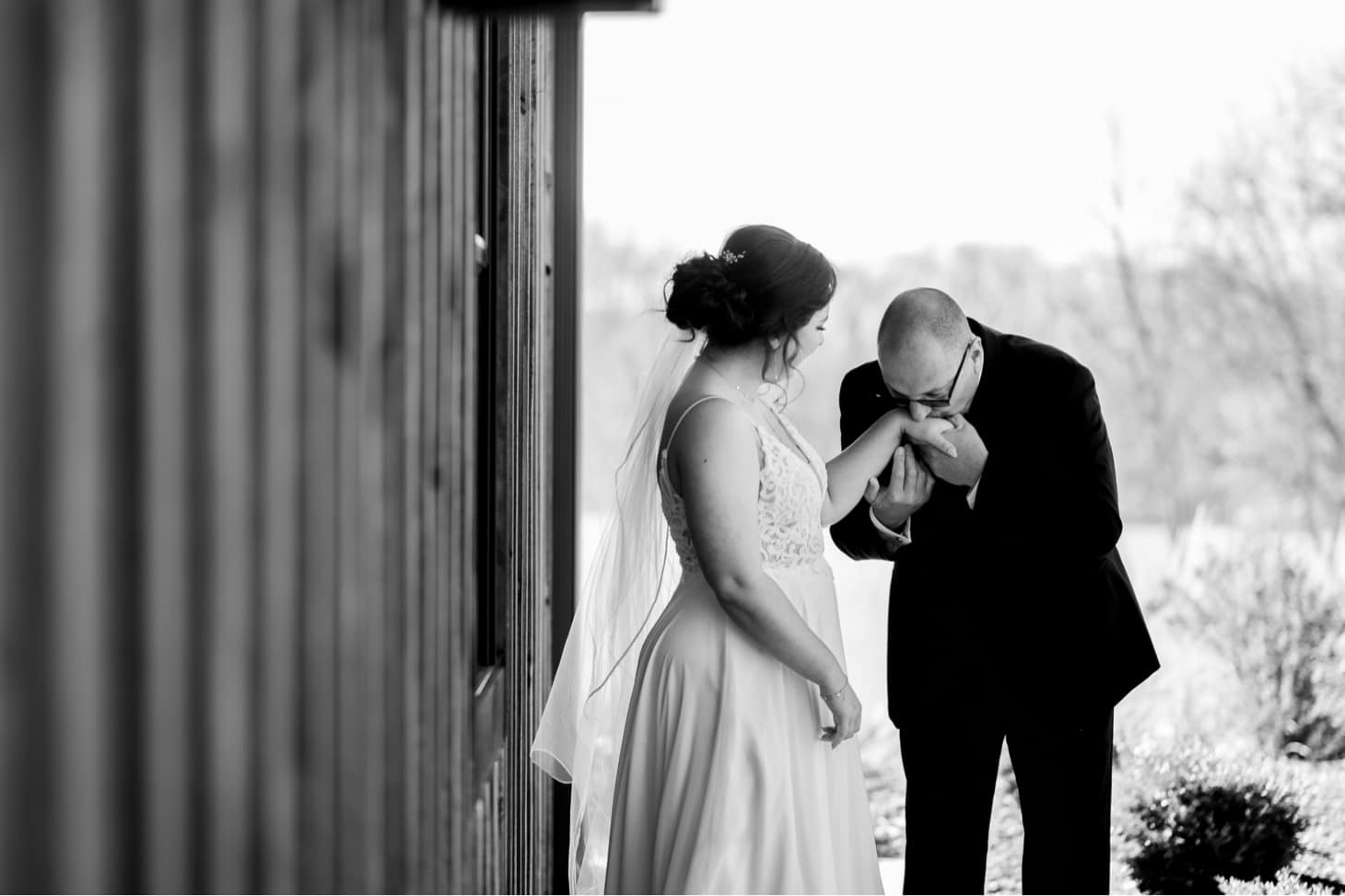 bride with father at country lane lodge