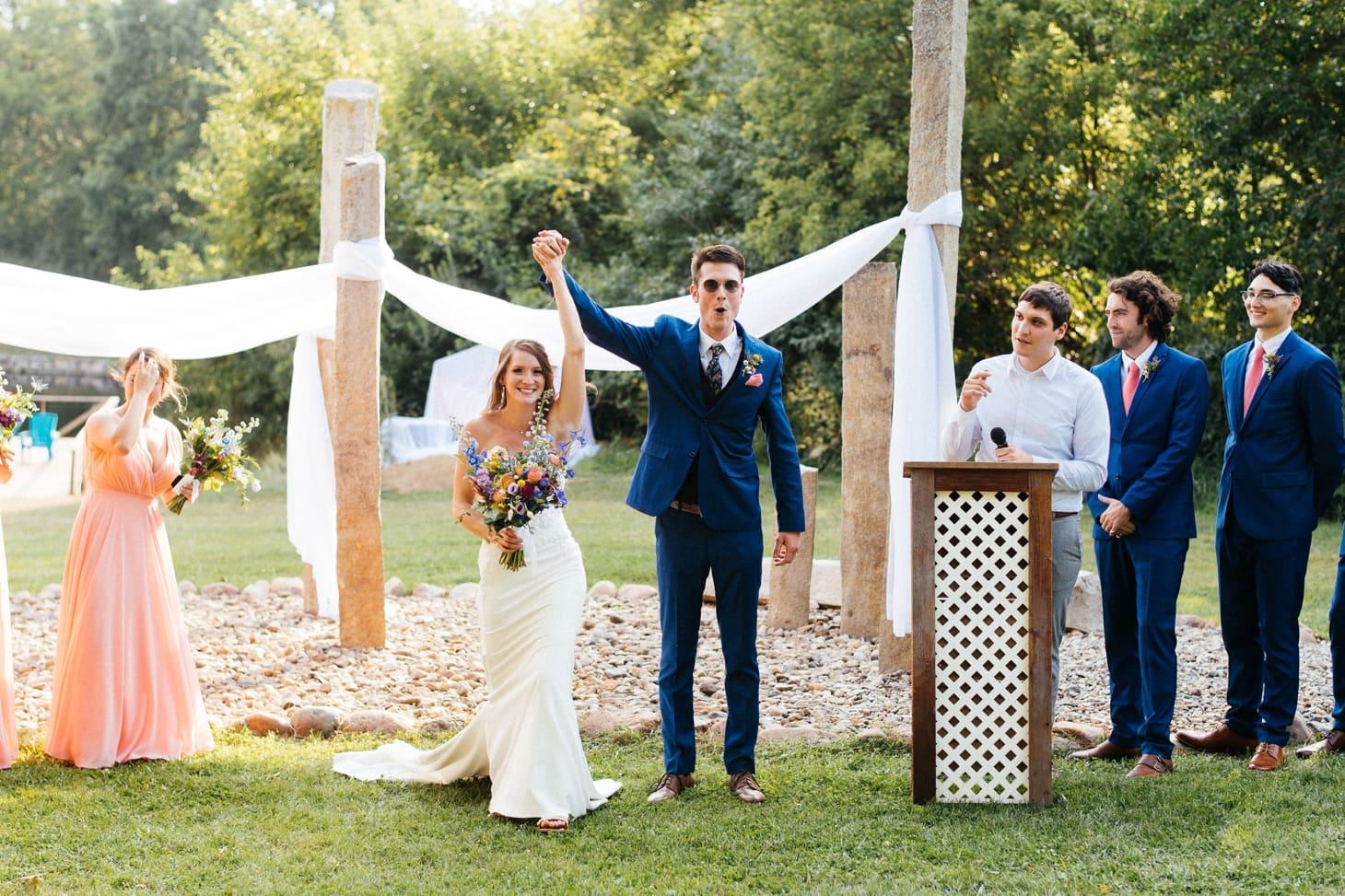 wedding exit at harvest preserve in iowa city