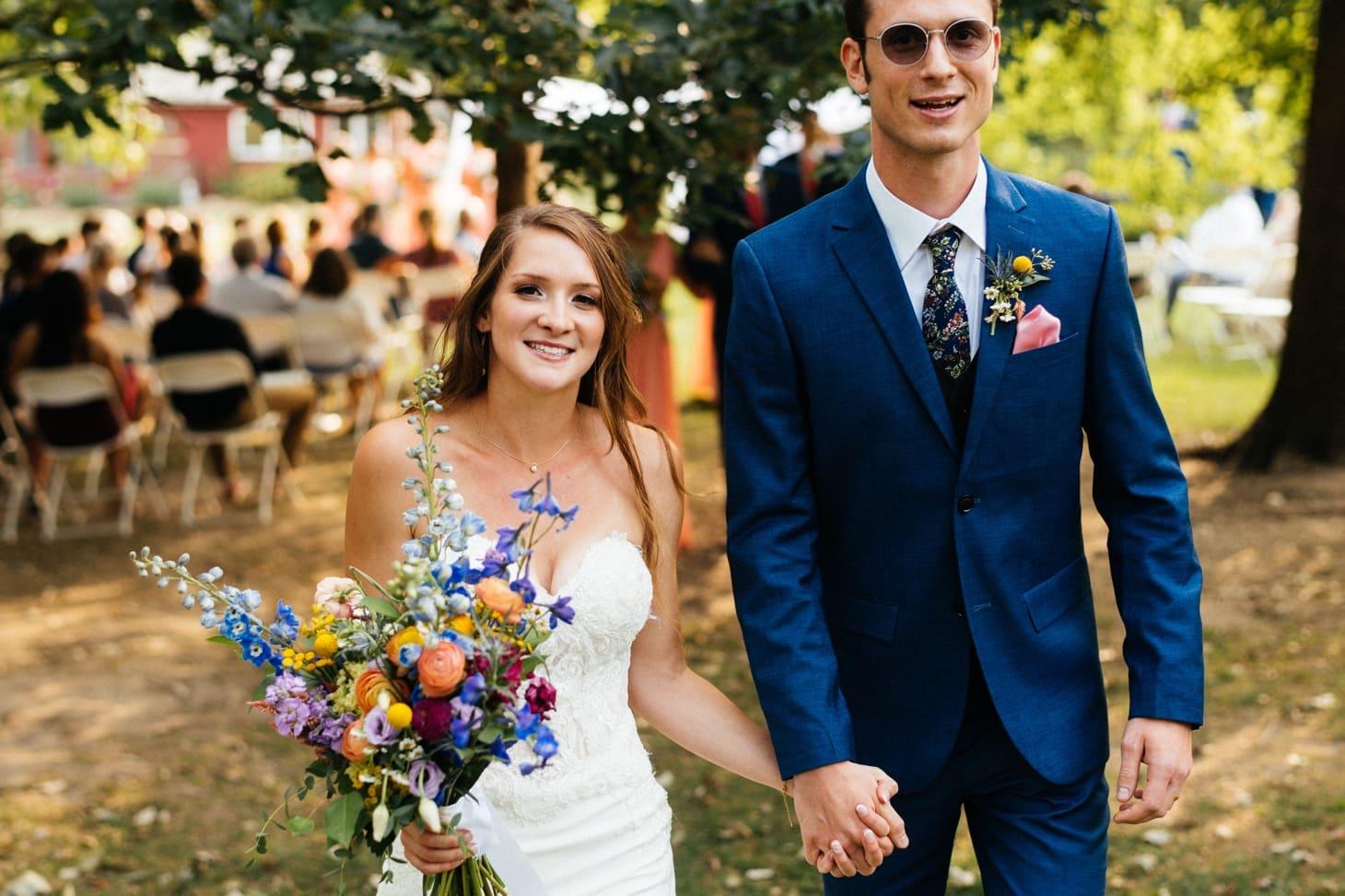 bride and groom wedding exit iowa city