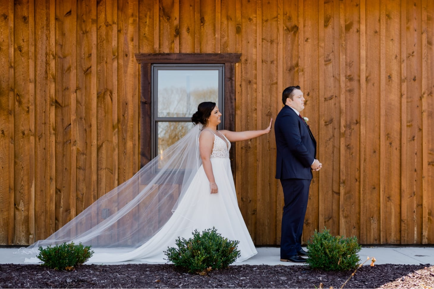 bride and groom first look adel iowa