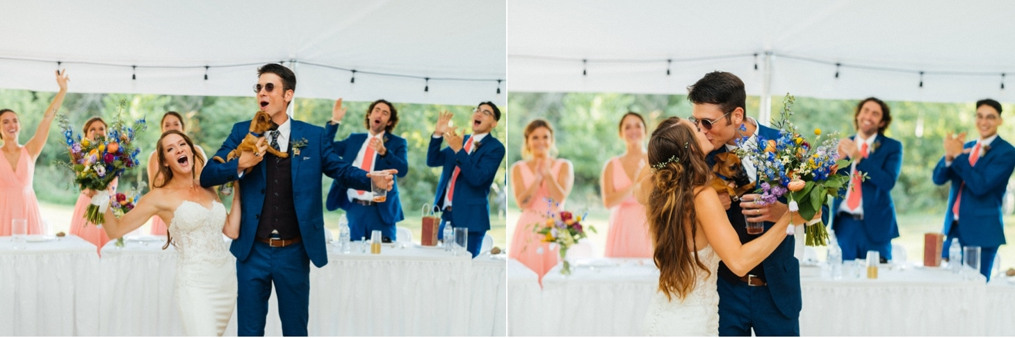 bride and groom at harvest preserve reception