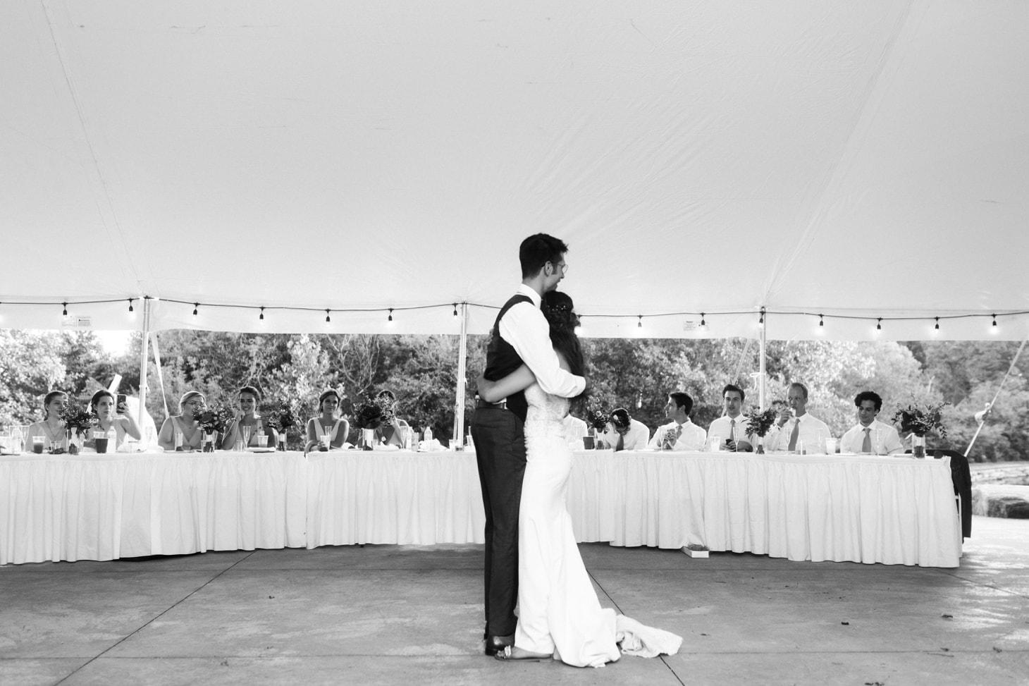 bride and groom first dance at harvest preserve