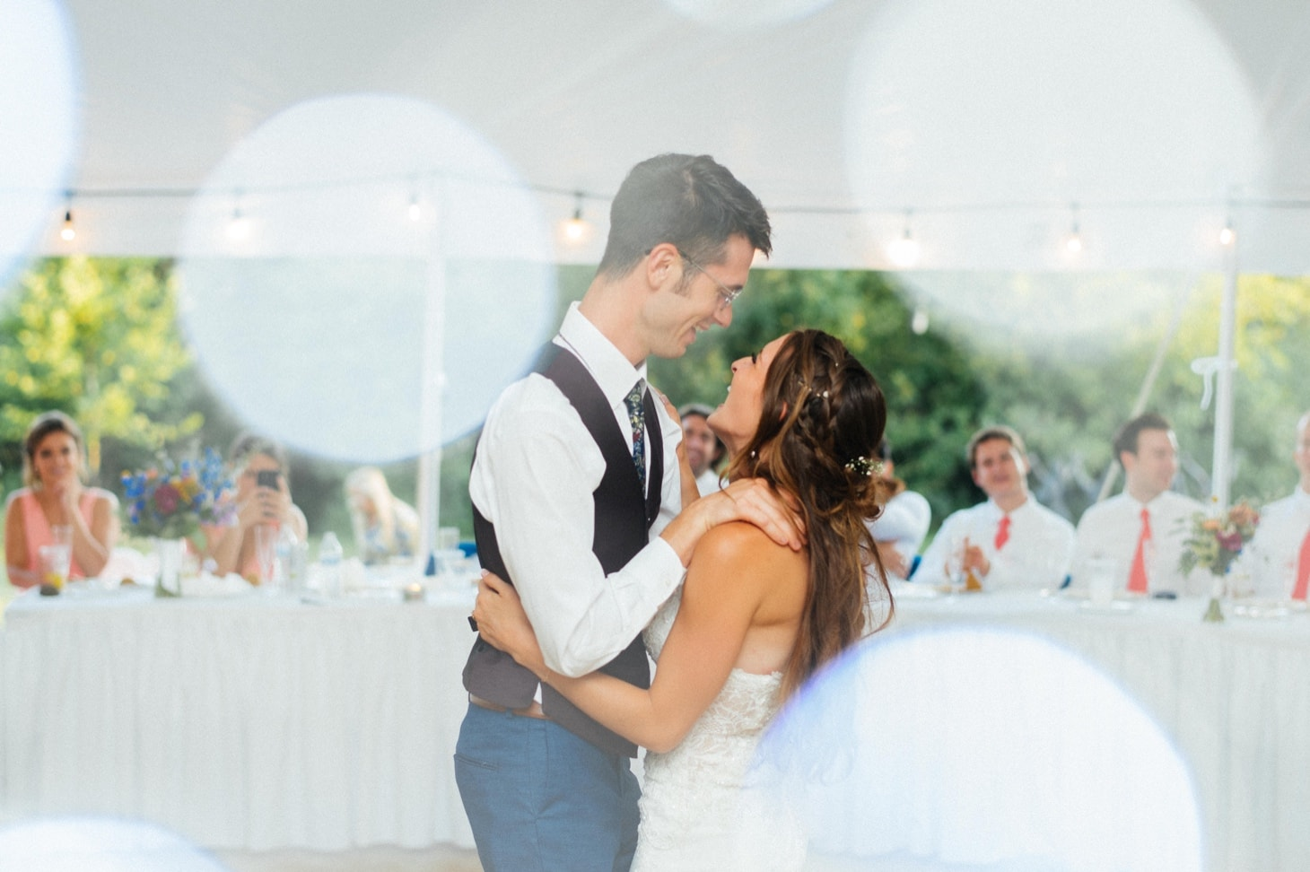 first dance between bride and groom at harvest preserve