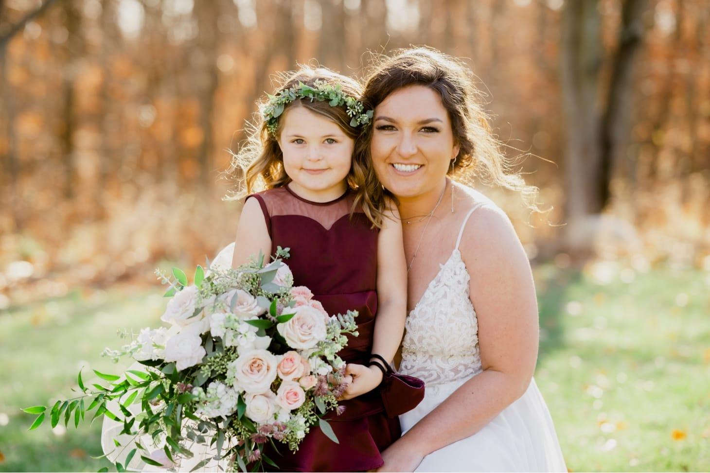 bride with flower girl country lane lodge