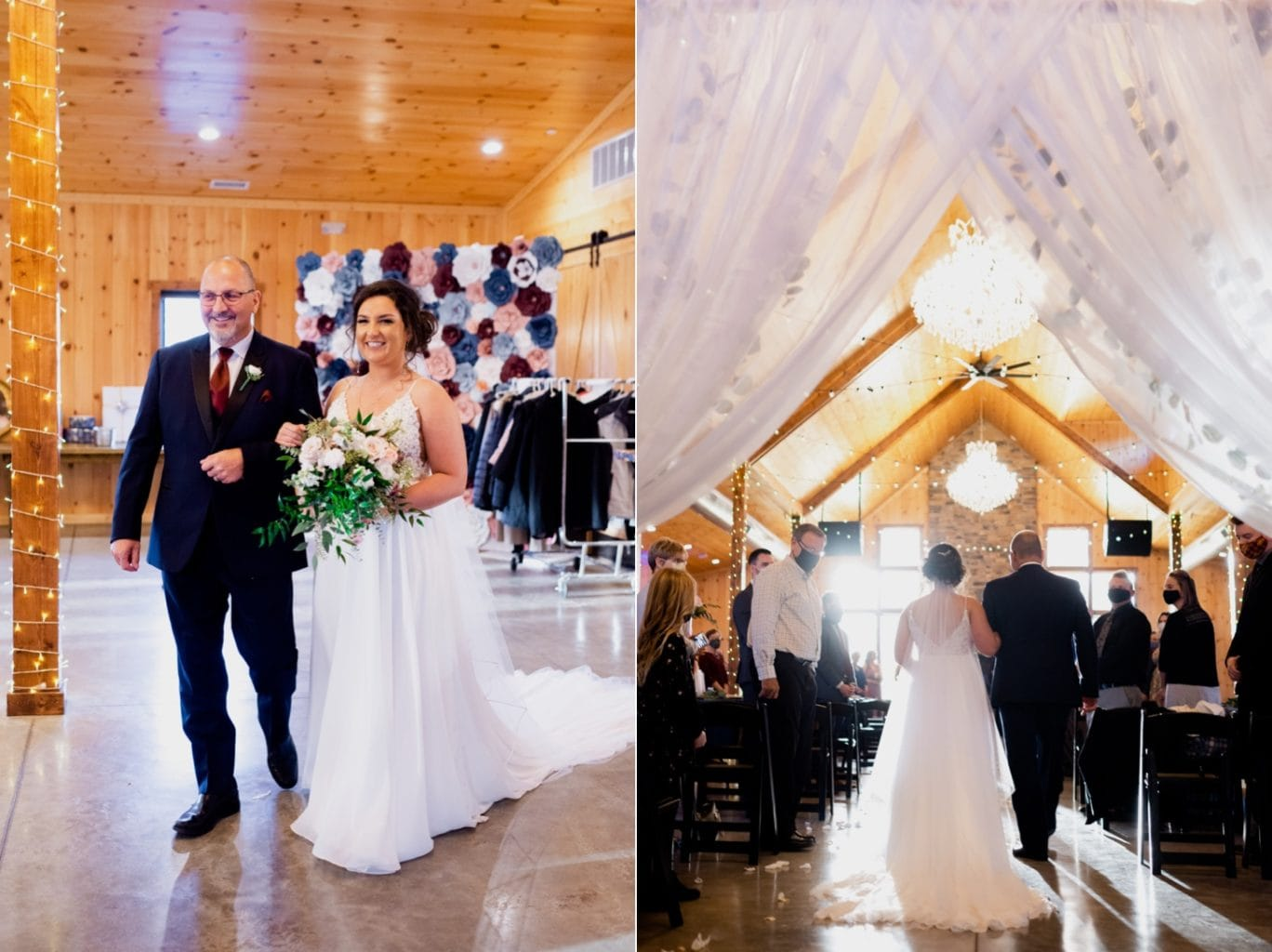 bride walking down the aisle at country lane lodge