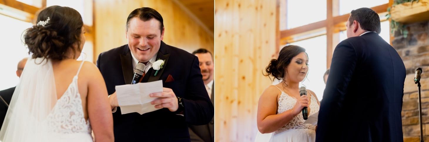 wedding vows at country lane lodge