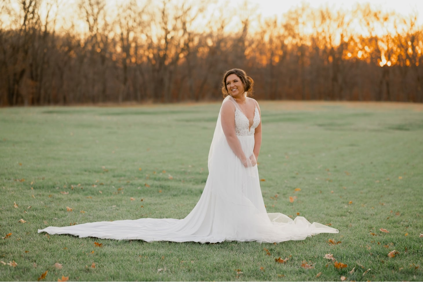 bridal portrait at sunset country lane lodge