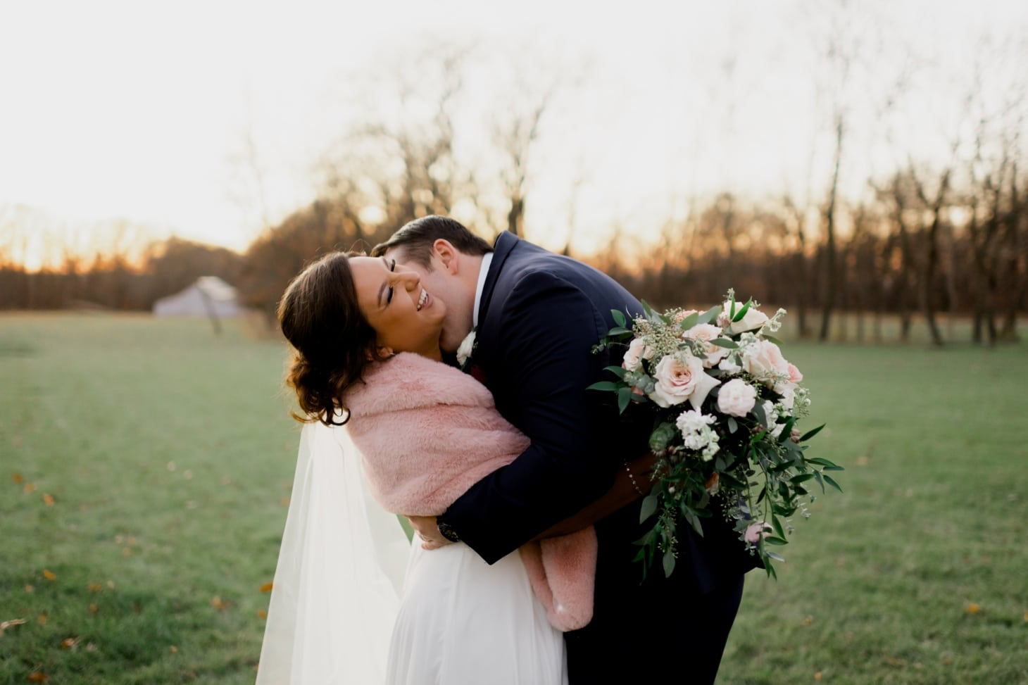bride and groom at sunset country lane lodge