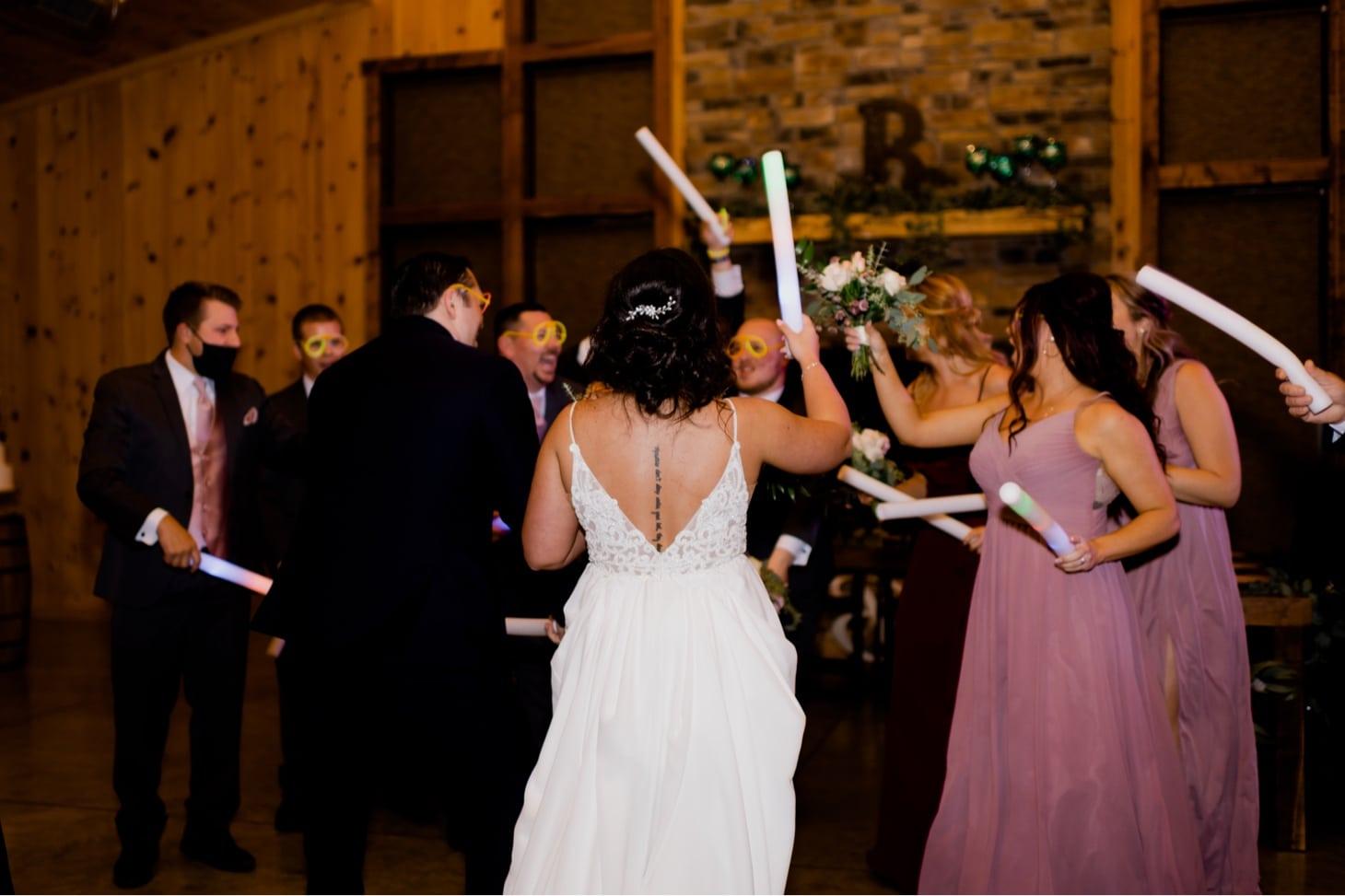 bridal party dancing at country lane lodge