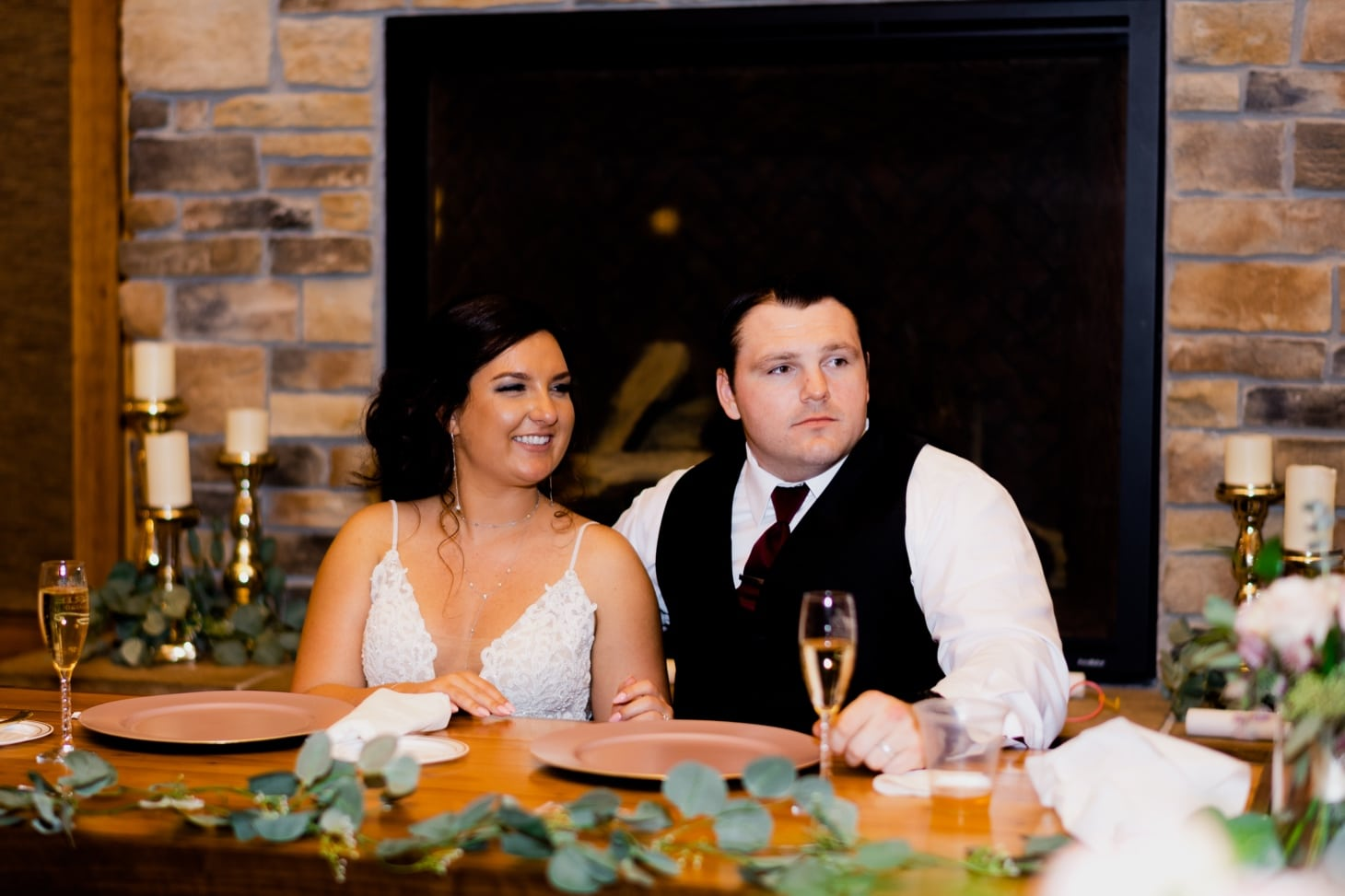 bride and groom at wedding reception country lane lodge