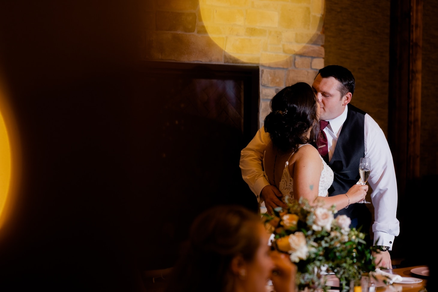bride and groom at country lane lodge wedding reception