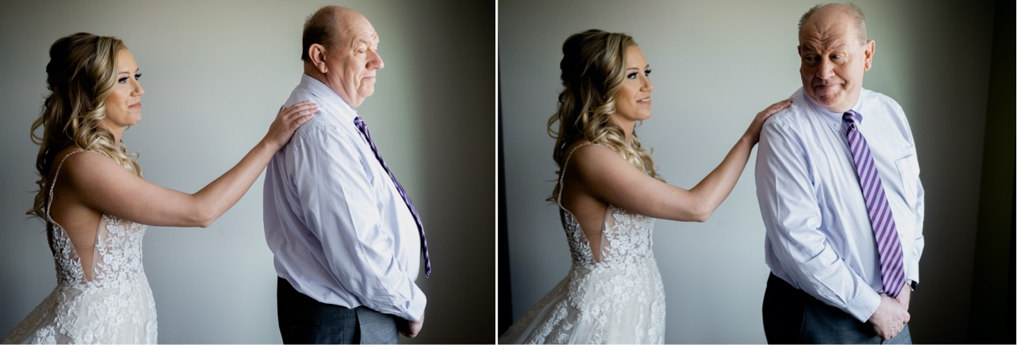 bride and her dad first look des moines wedding photographer