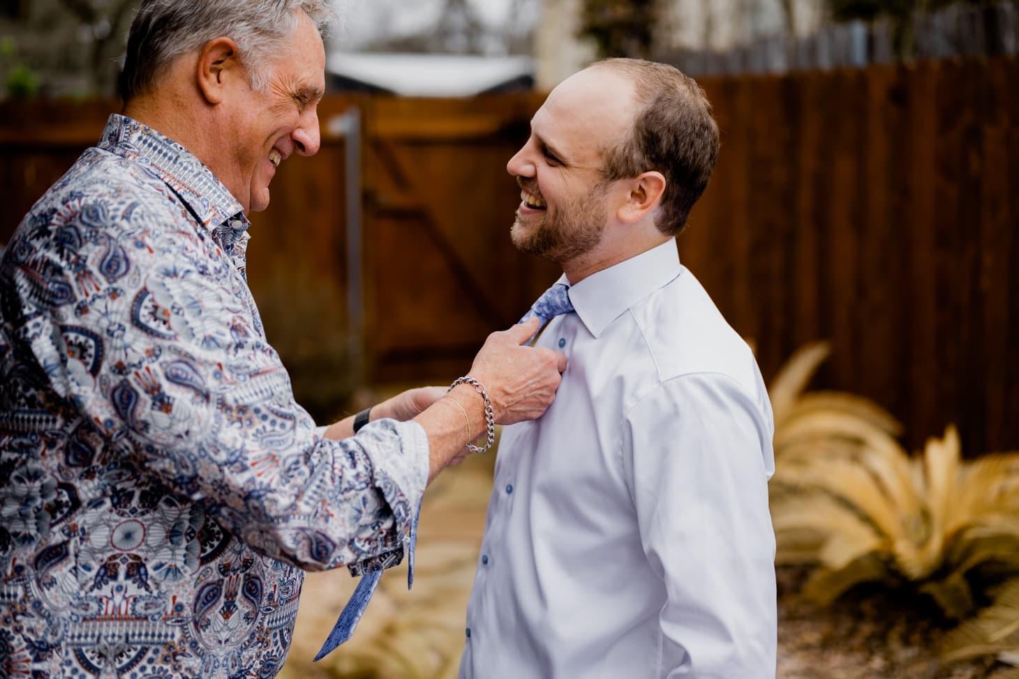 groom getting ready micro wedding Austin