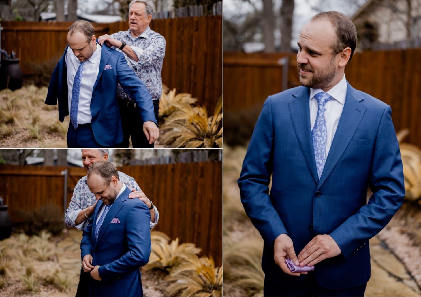 groom portrait Mount Bonnell wedding