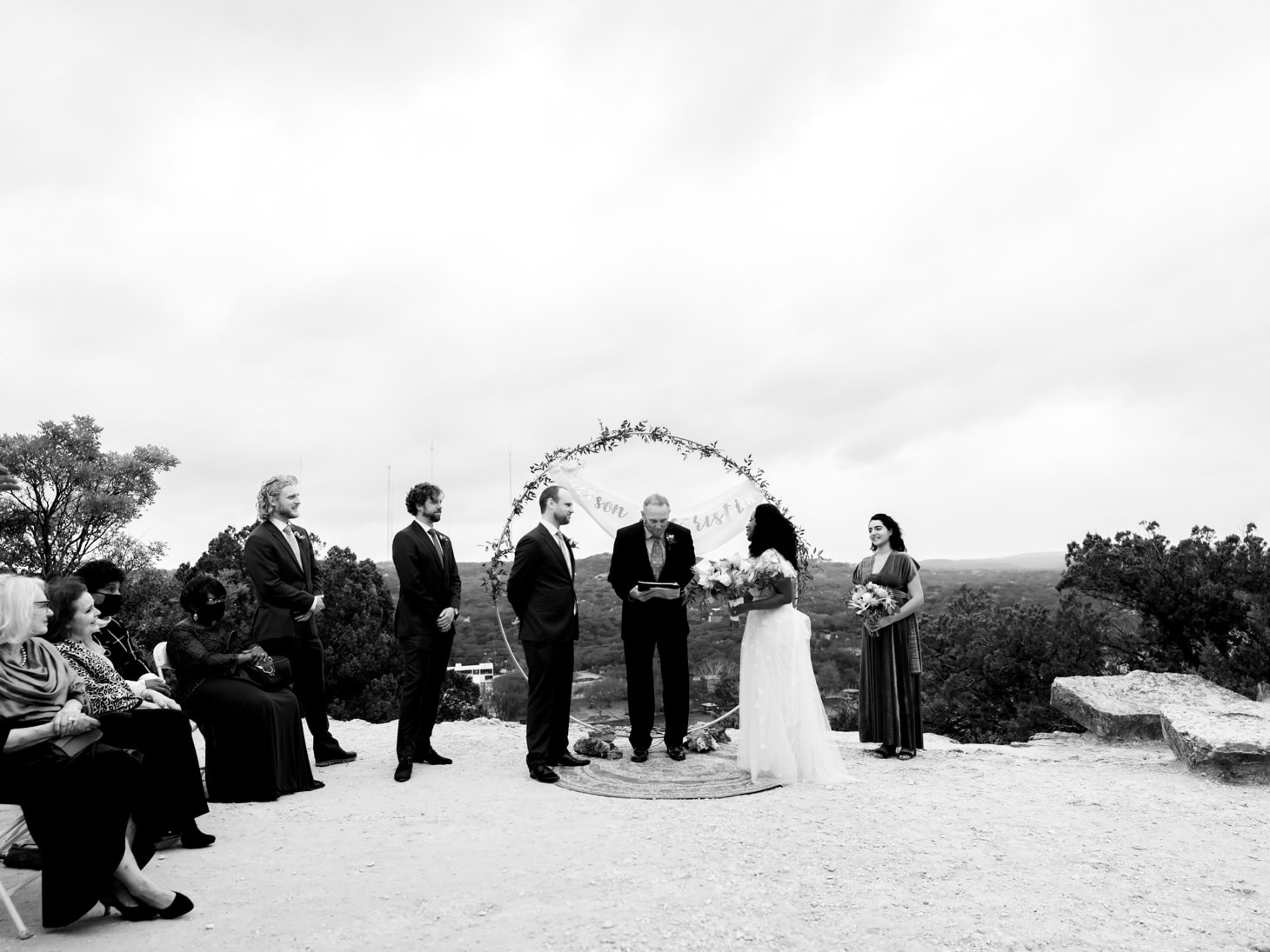 wedding at Mount Bonnell at night