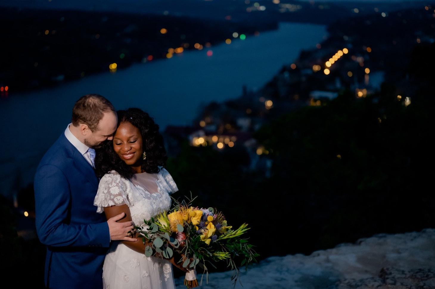 Mount Bonnell at night wedding