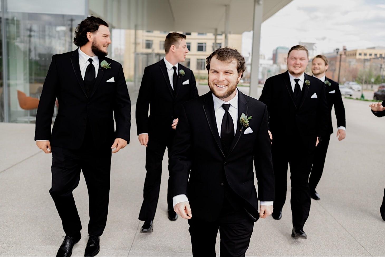 Groomsmen at Des Moines River Center wedding