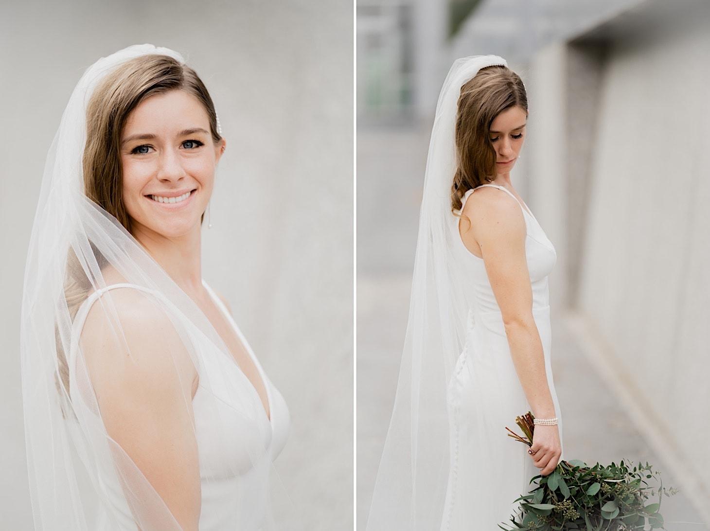 Bridal portrait river center Des Moines wedding