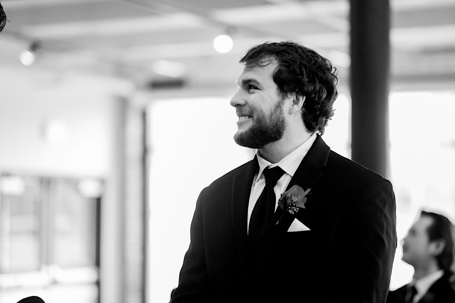 groom at River Center ceremony