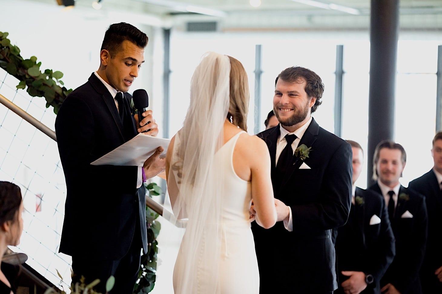Des Moines River Center wedding ceremony