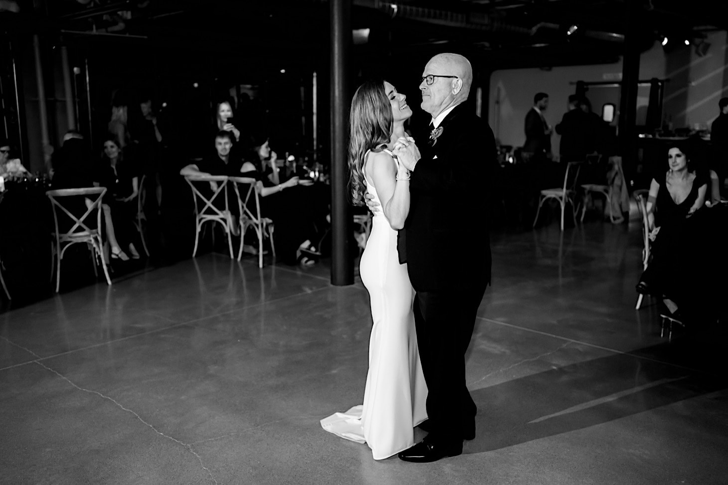 bride dancing with father at River Center wedding DSM