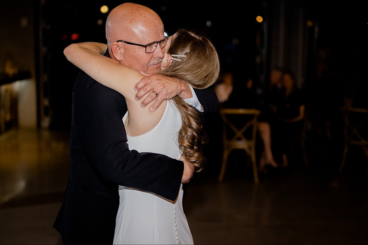 bride and her dad at River Center wedding Des Moines