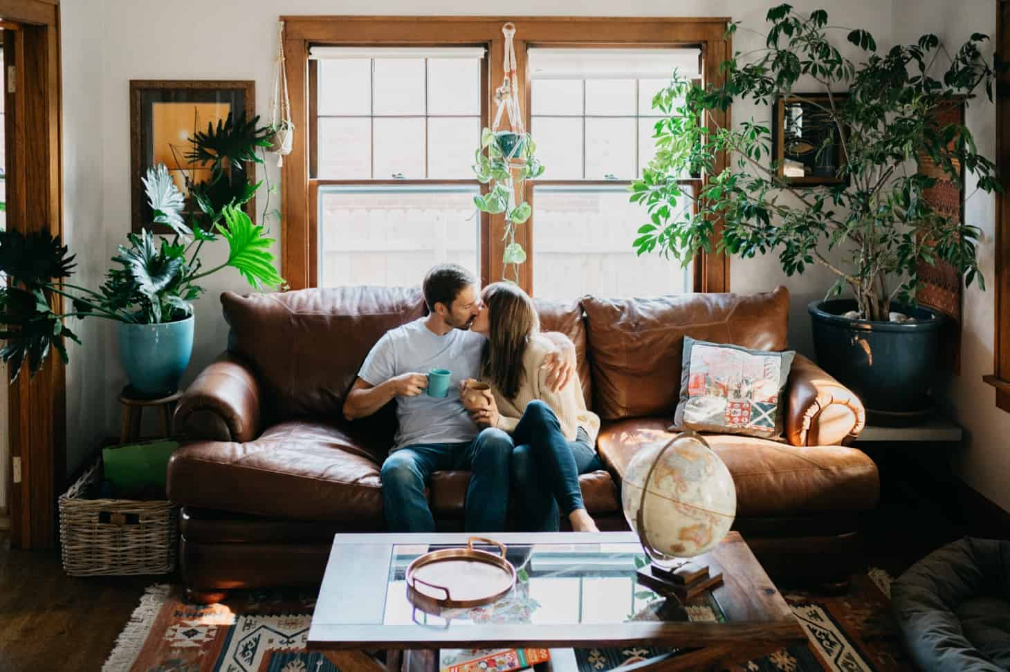 living room engagement session