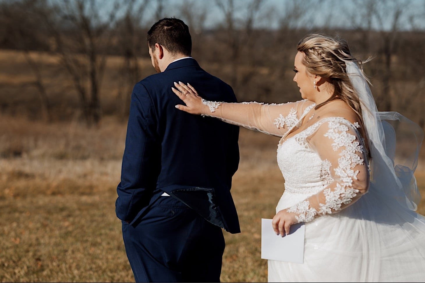 bridal first look red acre barn