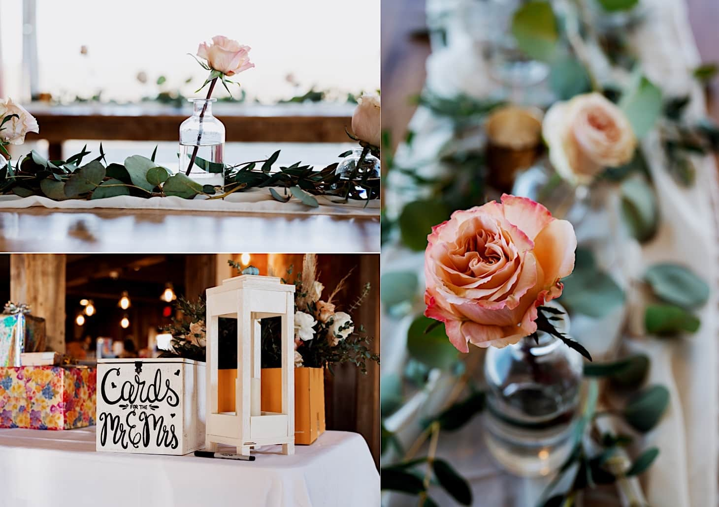 reception details at Red Acre Barn Des Moines