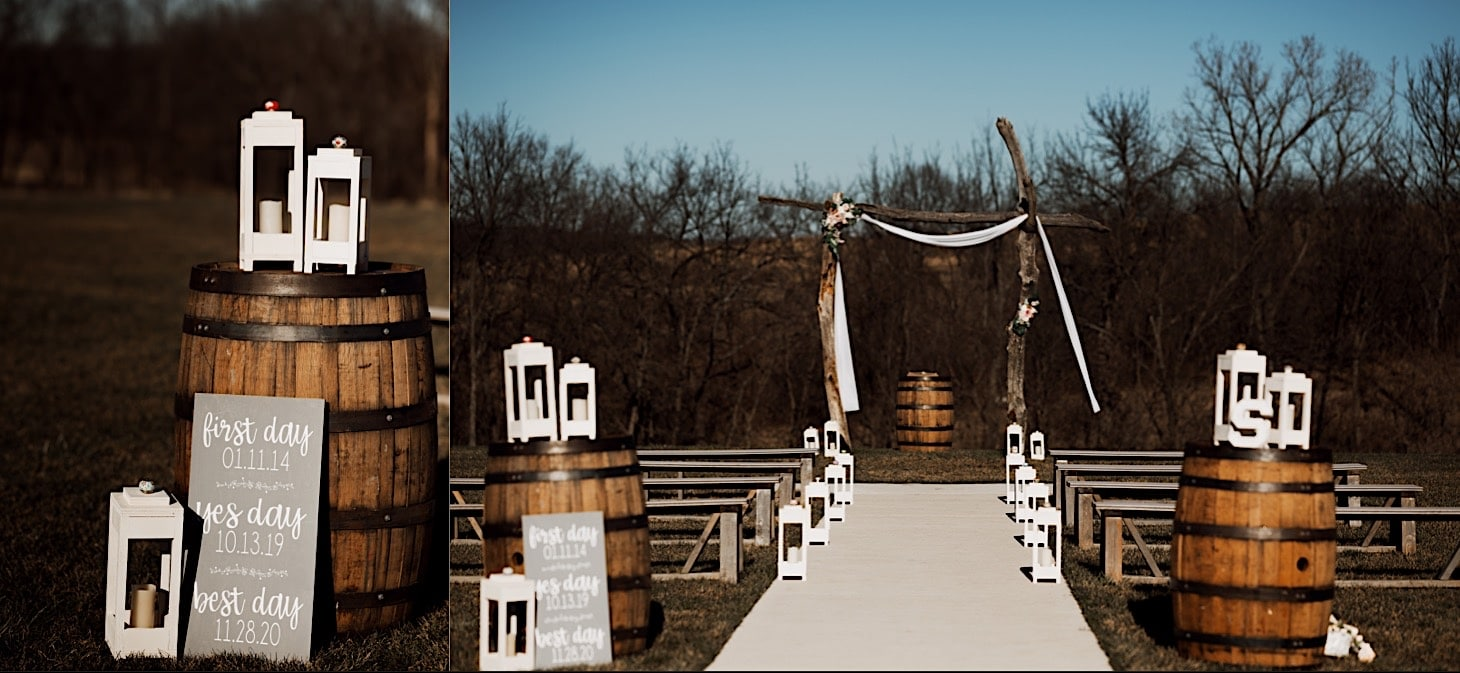ceremony details at Red Acre Barn Des Moines