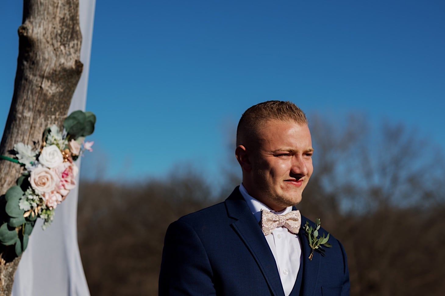 groom first look moment Des Moines Iowa