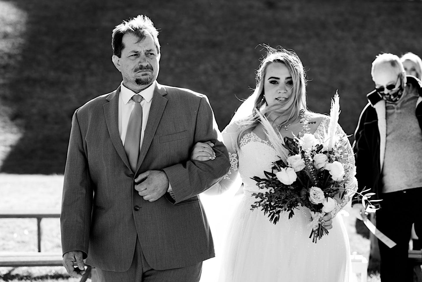 bride walking down aisle Des Moines Iowa wedding