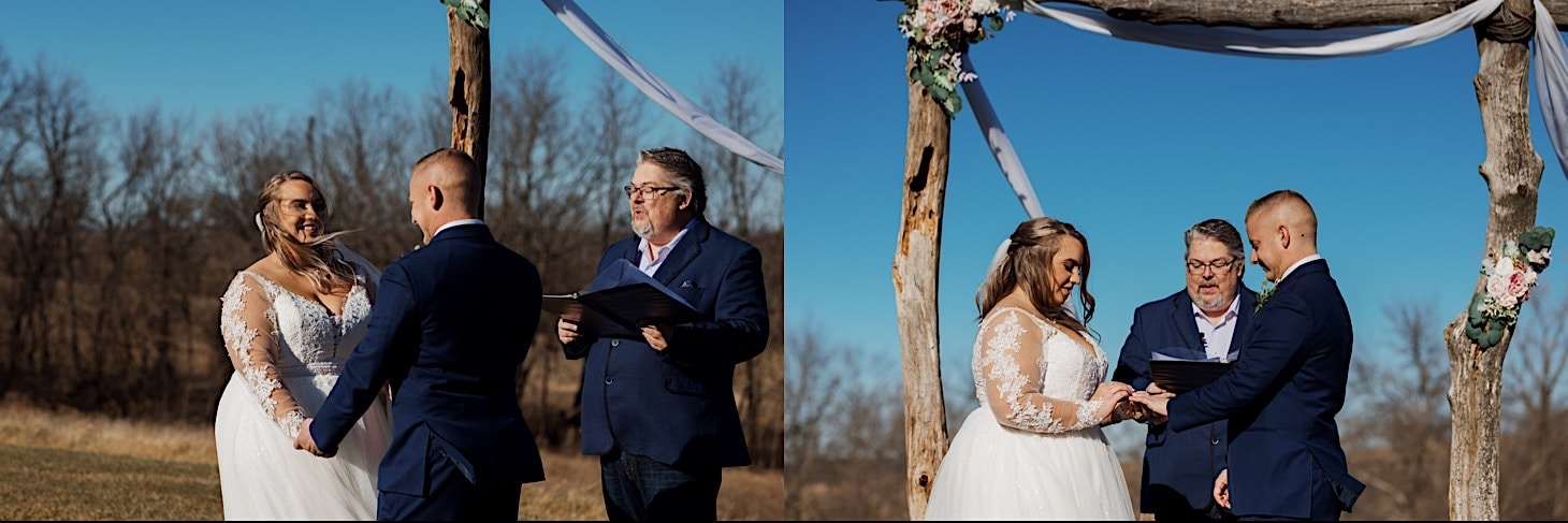 wedding vows at Red Acre Barn Des Moines