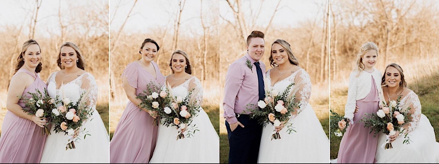 bride with bridesmaids red acre barn wedding