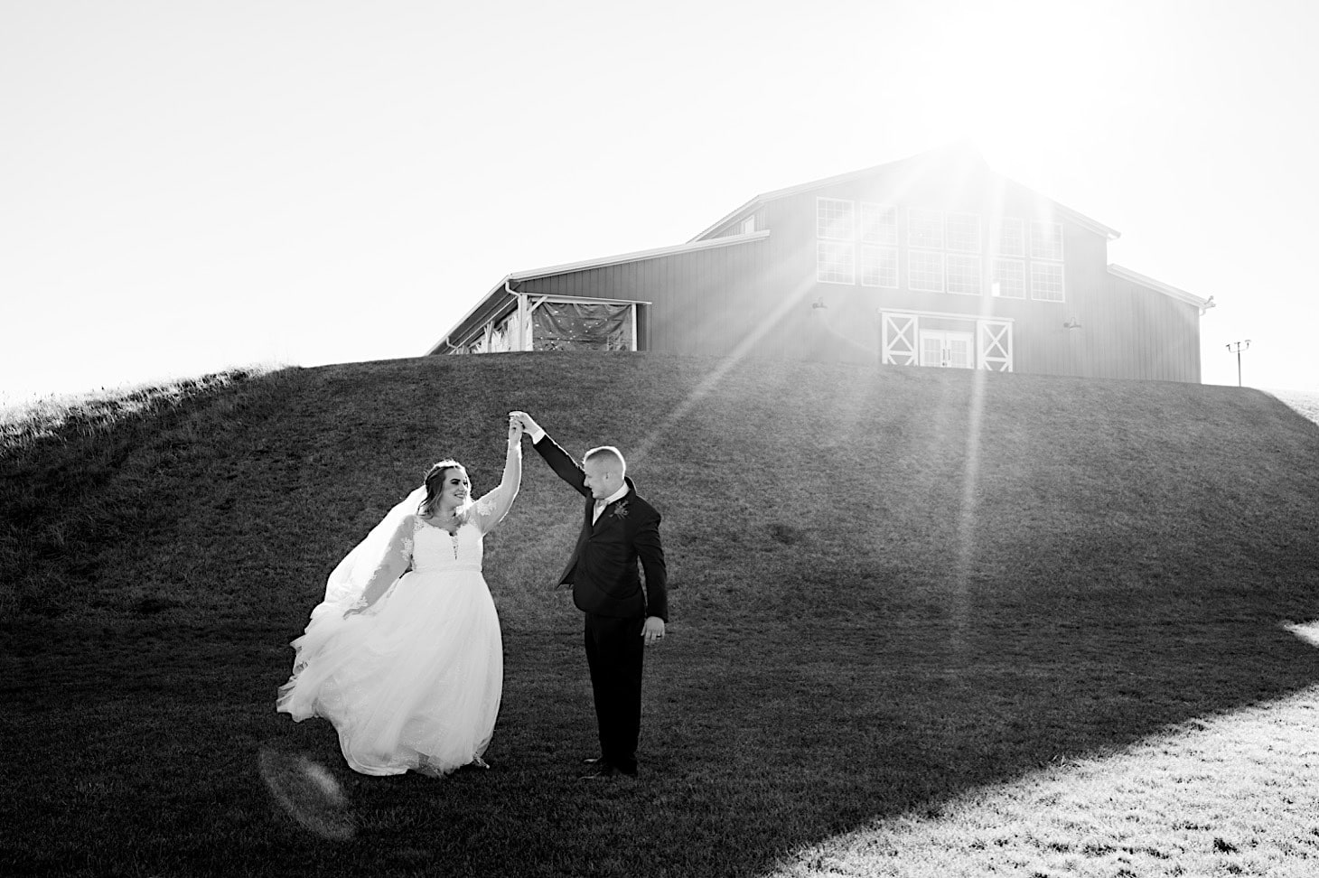 bride and groom portrait red acre barn