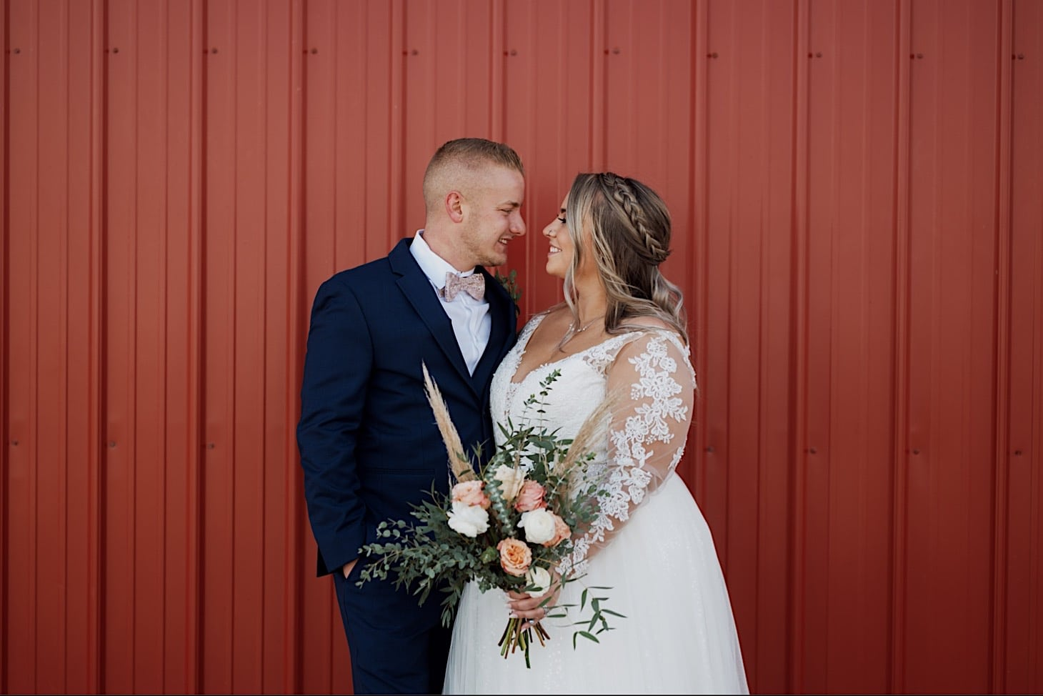 bride and groom red acre barn photography