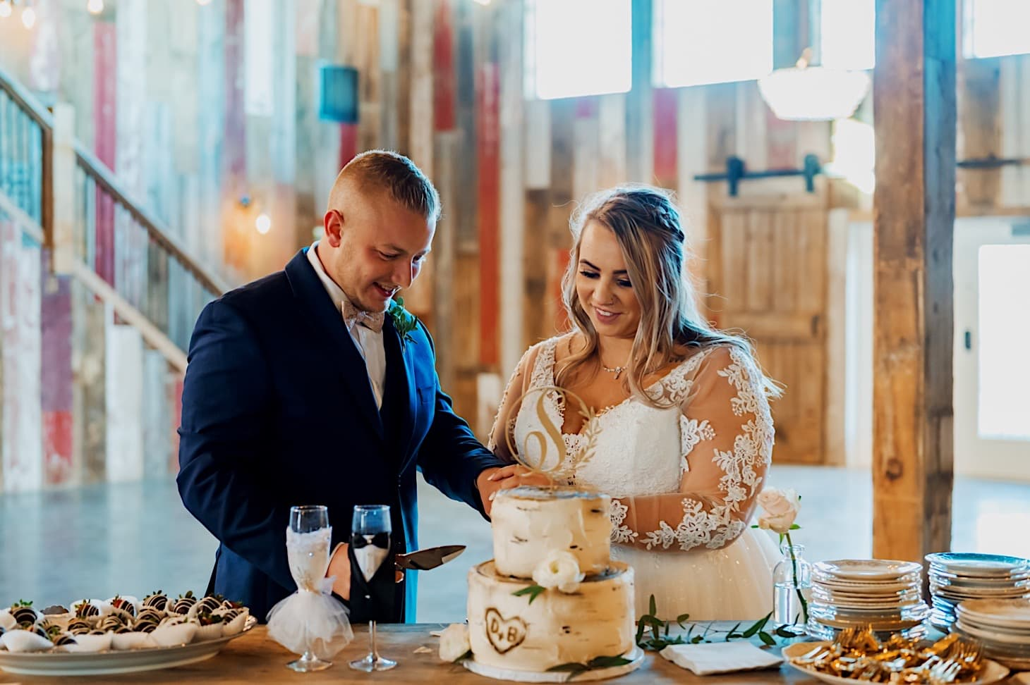 cake cutting at red acre barn