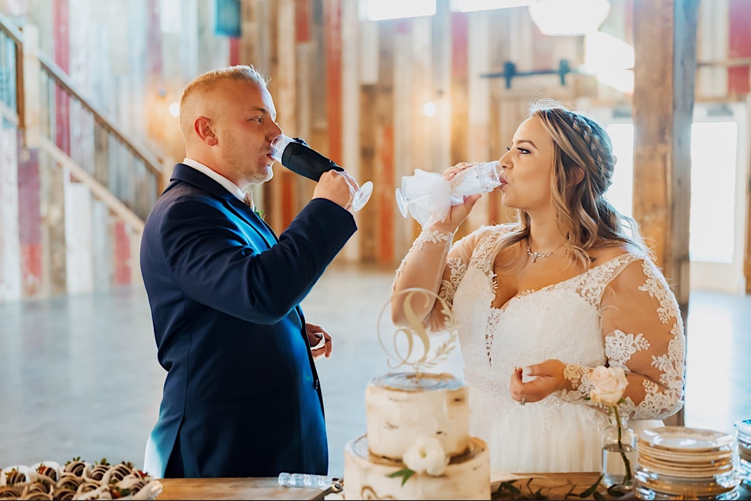 wedding toast at red acre barn