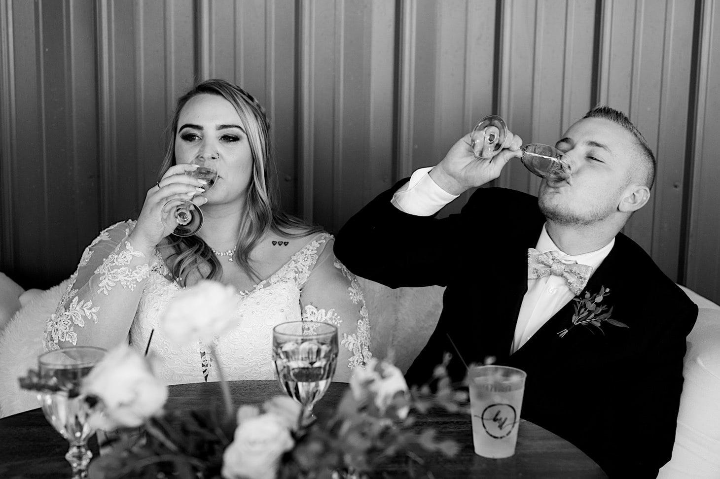 wedding toast at red acre barn iowa