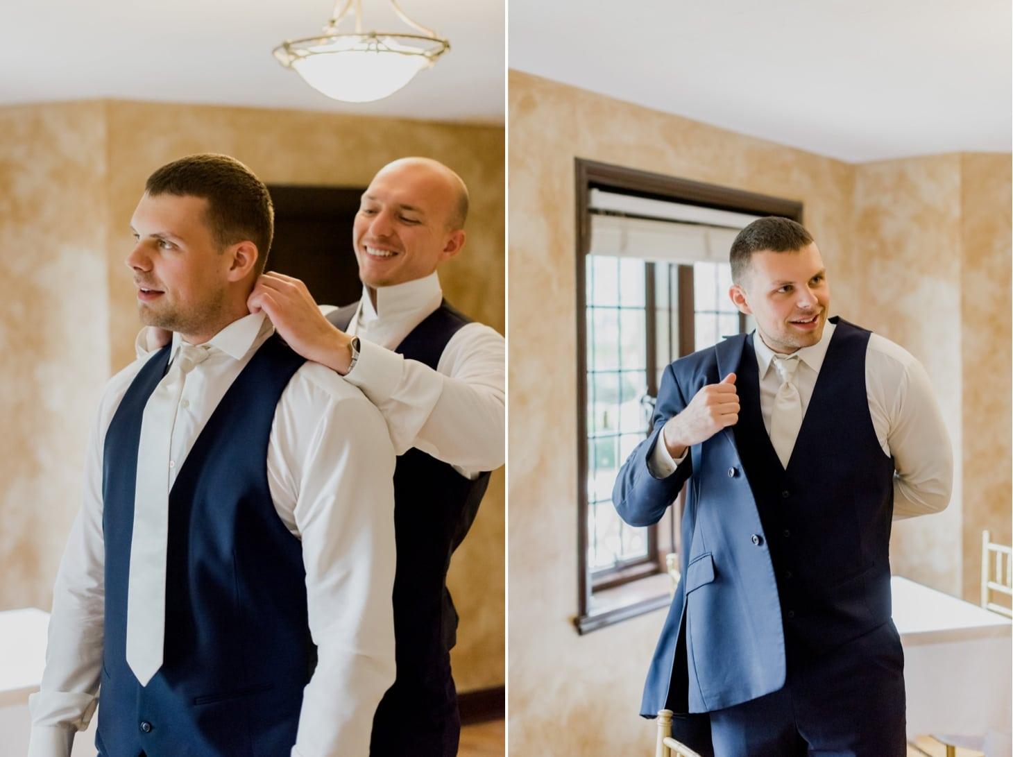 groom getting ready des moines iowa wedding